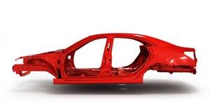 Автомобиль тела красного цвета задний без иллюстрации колеса 3d Стоковое Изображение RF