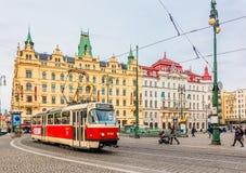 Автомобиль улицы в центре города Праги стоковое фото