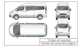 Автомобиль фургон чертеж конспектирует не преобразованный к объектам Стоковая Фотография