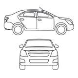 Автомобиль чертежа, иллюстрация вектора, взгляд со стороны и Стоковое Изображение