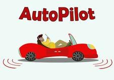 Автомобиль шаржа красный двигая без водителя Вектор Isolateg Illust Стоковая Фотография