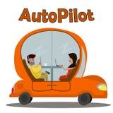 Автомобиль шаржа оранжевый двигая без водителя Стоковые Фото