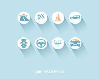 Автомобиль infographic при плоские установленные значки бесплатная иллюстрация