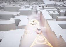 Автомобиль Selfdriving в действии - переводе 3D Стоковые Фотографии RF