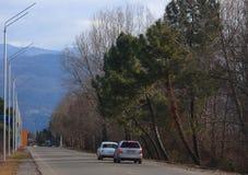 2 автомобиля на дороге с красивым ландшафтом внутри Стоковое Изображение RF