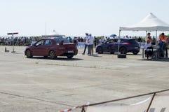 2 автомобиля перед стартом на прибытии на ` s Resinge волочат Стоковые Фотографии RF