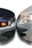 2 автомобиля припаркованного друг против друга Стоковое Изображение