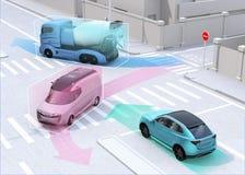Автономное ` s автомобиля делить автомобилей управляя информацией на дороге иллюстрация вектора