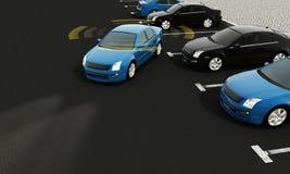 Автономные автомобили на дороге с видимым соединением стоковое изображение rf