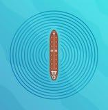 Автономный корабль с взгляд сверху радиолокатора Собственная личность управляя концепцией шлюпки Стоковое Изображение