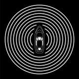 Автономный корабль с взгляд сверху радиолокатора Собственная личность управляя концепцией шлюпки Стоковое фото RF