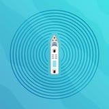 Автономный корабль с взгляд сверху радиолокатора Собственная личность управляя концепцией шлюпки Стоковая Фотография