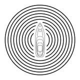 Автономный корабль с взгляд сверху радиолокатора Собственная личность управляя концепцией шлюпки Стоковая Фотография RF