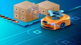 Автономный робот, направленный искусственного интеллекта на автоматизированном складе Умный трутень распределяет пакеты в снабжен иллюстрация вектора