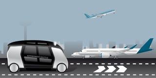 Автономный челнок на авиапорте Стоковое Изображение RF