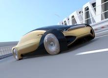 Автономный электрический автомобиль двигая быстро на кривую шоссе бесплатная иллюстрация