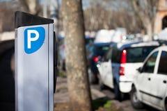 Автопарковочный счетчик автомобиля Измеренный Рим, Италия Стоковое Изображение RF