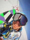 Автопортрет изобржанный в карикатурном виде Snowboarder Стоковые Фото