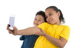 Автопортрет мальчика и девушки Стоковое Изображение RF