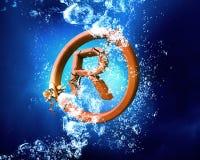 Авторское право подписывает внутри воду стоковые фотографии rf