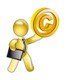 авторское право характера держит manikin иллюстрация вектора
