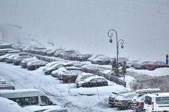 Автостоянка зимы снежная Стоковое фото RF
