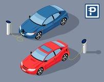 Автостоянка Electrocar иллюстрация штока
