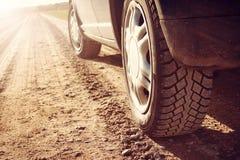Автошина автомобиля на грязной улице стоковая фотография