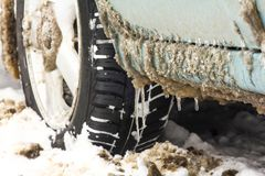 Автошины грязи и снега стоковые фотографии rf
