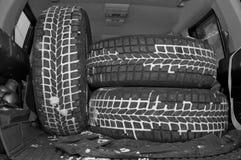 Автошины зимы в ботинке Стоковые Фотографии RF