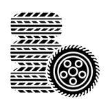 Автошины - значок обслуживания автошины, иллюстрация вектора, черный знак на изолированной предпосылке бесплатная иллюстрация