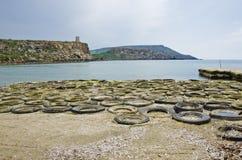 Автошины, золотой залив песков, Мальта Стоковое Изображение