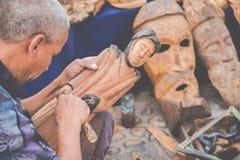 АГАДИР, МАРОККО - 15-ОЕ ДЕКАБРЯ 2017: Африканские маски, Марокко Gif Стоковая Фотография RF