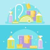 Агенты, инструменты и приборы чистки Иллюстрация уборки Стоковые Изображения