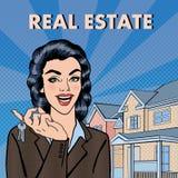 Агент недвижимости женщины держа ключи от нового дома Искусство шипучки бесплатная иллюстрация