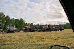 Аграрные зернокомбайны стоят в поле стоковое изображение