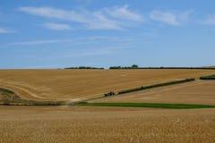 Аграрный взгляд в южных спусках Ландшафт снял показывать будучи сжатым урожаи стоковые фотографии rf