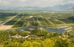 Аграрный вид с воздуха полей Стоковые Изображения