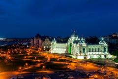 Аграрный дворец на ноче в Казани, России стоковая фотография