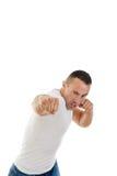 Агрессивные взрослые забастовки человека дуют с сжатым кулаком Стоковое фото RF