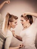 2 агрессивных женщины имея спорят бой Стоковая Фотография
