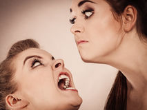 2 агрессивных женщины имея спорят бой Стоковое Фото