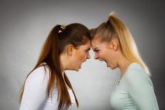 2 агрессивных женщины имея спорят бой Стоковые Изображения RF