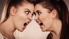 2 агрессивных женщины имея спорят бой Стоковые Изображения
