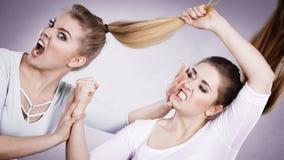 2 агрессивных женщины имея спорят бой Стоковые Фотографии RF