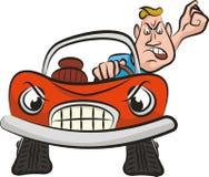 Агрессия на дороге - сумашедший водитель иллюстрация штока