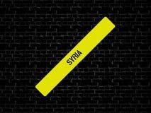 Адвокатура в желтом цвете слово СИРИЯ показано Предпосылка черна с плитками стоковое фото