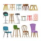 Адвокатура-стул табуретки мебели вектора стула удобный и современный дизайн места бара в обеспеченном интерьере кафа бистро иллюстрация вектора