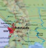 Аделаида на карте Стоковые Изображения