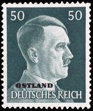 Адолф Юитлер на немецком штемпеле Стоковые Изображения